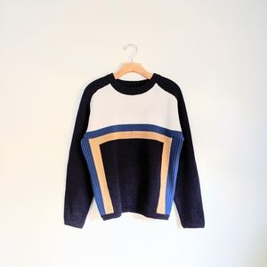 Vtg 70s Groovy Stripe Rib Knit Boxy Sweater Top M